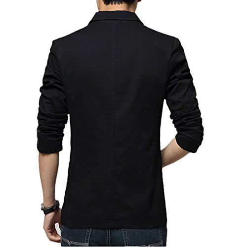 Mirecoo - Blazer - Uni - Col Tailleur - Homme Noir
