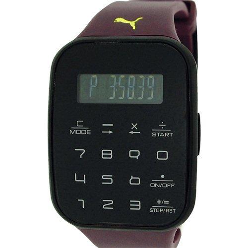 PUMA Montre Calculette Unisexe Digitale Chronographe Bracelet Plastique Violet