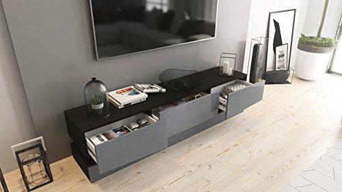 tv board lowboard city korpus in schwarz matt fronten in grau hochglanz smash. Black Bedroom Furniture Sets. Home Design Ideas