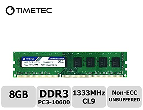 Timetec Hynix IC 8GB DDR3 1333MHz PC3-10600 Unbuffered Non-ECC 1.5V CL9 2Rx8 Dual Rank 240 Pin UDIMM Desktop Arbeitsspeicher Module Upgrade (8GB)