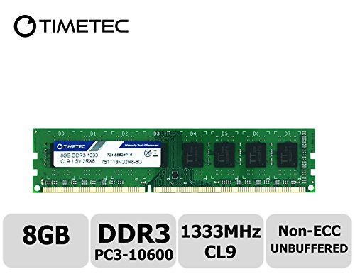 Timetec Hynix IC 8GB DDR3 1333MHz PC3-10600 Unbuffered Non-ECC 1.5V CL9 2Rx8 Dual Rank 240 Pin UDIMM Desktop Arbeitsspeicher Module Upgrade (8GB) (Intel-six-core-prozessor)