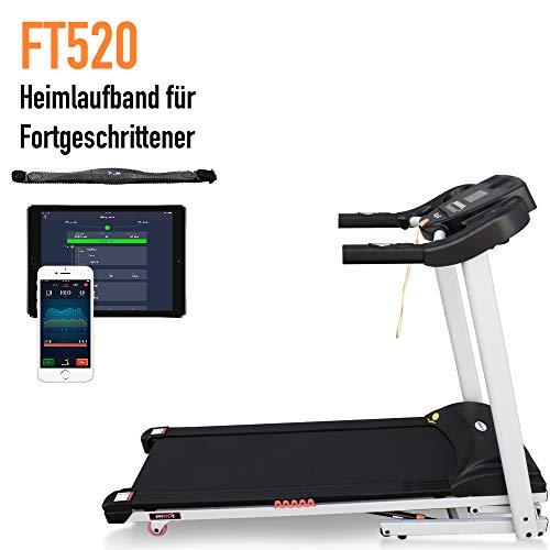 Fitifito Profi klappbares Laufband FT520 4,5PS 16km/h mit LCD Bildschirm Dämpfungssystem, elektronische Steigung inkl. HRC Belastung bis 120kg Weiss Gratis Pulsgurt im Wert von 49,9EUR (Weiss)