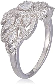 Azaleas Ring 925 Silver Caliber Rhodium Plated, Inlaid With Zircon Stones