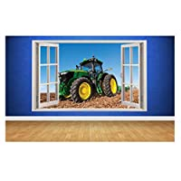 Tractor Farm Boys Bedroom Animals Country Window Wall Decal 3D Art Stickers