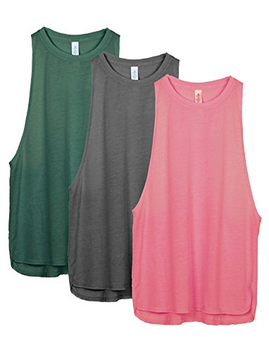 icyzone Sport Tank Top Damen Locker - Yoga Fitness Shirt Racerback Oberteile atmungsaktive (Army/Charcoal/Pink, L) -