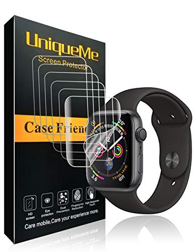 UniqueMe kompatibel für Apple Watch Schutzfolie Series 5/4 44 mm [6 Pack] [Blasenfreie] HD Clear Flexible Folie mit Lebenslange ersatz garantie
