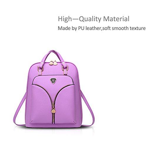 NICOLE&DORIS Mode Schön Damen Rucksack Schulrucksack Reisen Daypacks Tasche Für Outdoor Wasserdicht Dauerhaft PU Weiß Lila