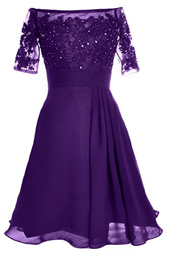 MACloth Women Off Shoulder Mother of Bride Dress with Sleeve Midi Cocktail Dress purple