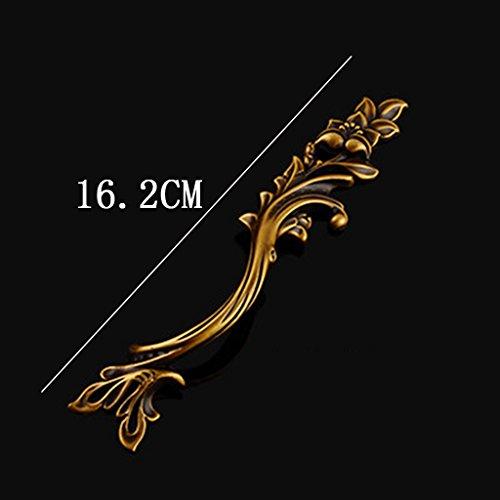 LI JING SHOP - (1 set di 2, Sinistra 1, Destra 1) Cinese intagliato Governo del cassetto rame puro maniglia europeo stile antico Tutto bronzo Hardware piccola maniglia Governo del vino Armadio Maniglia ( colore : Brass2 , dimensioni : L16.2CM )
