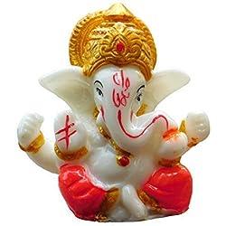 "Bignay 2,5"" Mini Lord Ganesh/Ganpati Poly Marmor Idol. Hindu-Gott des Erfolgs (Mukut) Kleine Ganesha-Statue"