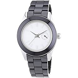 DKNY Women's 36mm Black Ceramic Band Steel Case Quartz Grey Dial Analog Watch NY2143