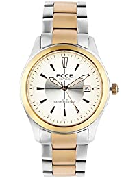 FOCE Silver & Rose Gold Round Analog Wrist Watch for Men with Silver::Rose Gold Metal Strap - F724SPN-SILVER