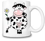Figaro Interaktyvo Kuh-Gänseblümchen - Cow Daisy Coffee Mug Ceramic Coffee Tea Beverage Kitchen Mugs by