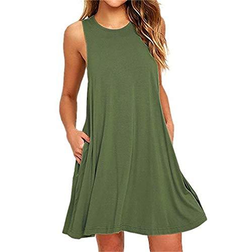 Summer Cotton Dress Women Sleeveless Beach Black Dress Casual Mini Pocket Loose Dress Female Plus Size Dress Fashion Clothing 8038 ArmyGreen L -
