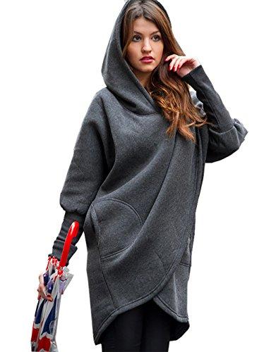 CoCo Fashion Damen Mantel Winter Kapuzenjacke Dünne Lange Mantel Jacke Trenchcoat Mantel Herbst Parka Outwear (EU M, Stil 2_Dunkelgrau)