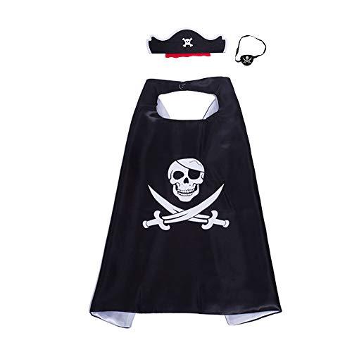 thematys Piraten-Set 3-teilig Kostüm - Mütze, Umhang und Augenklappe - Accessoires für Erwachsene perfekt für Fasching, Karneval & - 3 Mann Fancy Dress Kostüm