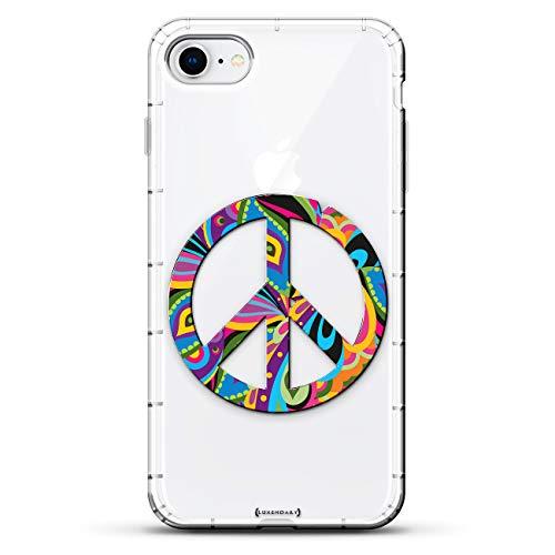 Lifestyle Schutzhülle für iPhone 8/7, Hipster-Motiv mit Buntem Peace-Zeichen, 3D-Druck-Design, transparent -