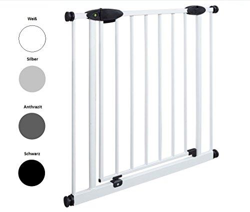 Impag Türschutzgitter Treppenschutzgitter mit Ampelfunktion 73 - 222 cm zum Klemmen Traffic Light + 30 Weiß