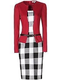 Bestfort Damen Langärmelige Hahnentritt Elegant Kleider Business Kleider  Abendkleid Etuikleid Casual Knielang… 5f60e32bd8