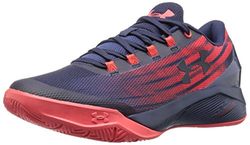 Under Armour Boys' Grade School Charged Controller Basketball Shoes, Midnight Navy/Pomegranate, 5.5