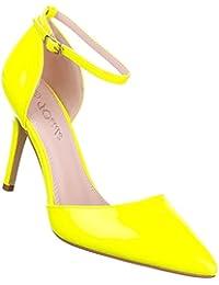 Damen Schuhe Sandaletten High Heels Riemchen Pumps Gelb 38