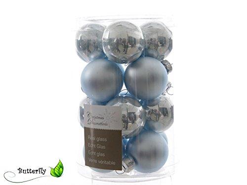 16palline palle di natale frozen blue in vetro 35mm diametro