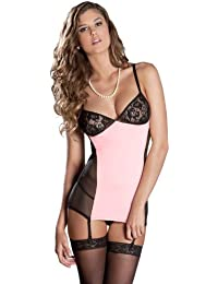 Rene Rofe Women's 2 Piece Pinup Dream Chemise Set, Pink, Small/Medium