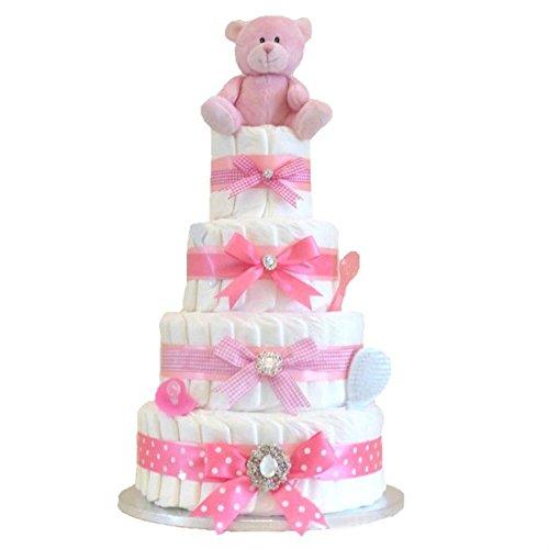 Signature Extra große Deluxe vier Etagen Mädchen pink Windeltorte/Baby-Geschenkkorb/Baby Dusche Geschenk/New Arrival Geschenk/Geschenk für Baby Girl/Girl Baby Dusche/Schnell Versand