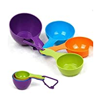 4pcs Plastic Multicolor Measuring Spoons Scoop Cups Kitchen Tool
