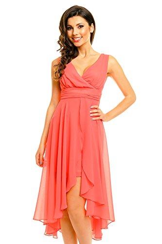 Vokuhila Abendkleid, Cocktailkleid, Kleid aus Chiffon apricot lachs, S 34