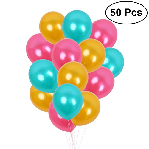 Toyvian 12 Zoll Latex Ballons Party Favors Supplies 3,2 g 50 Stück (Farbe Sortiert) Rose Rot Tiffany Blau Gold