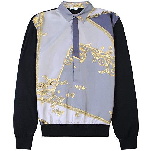 Versace Kollektion Seide vorne Poloshirt Large Black