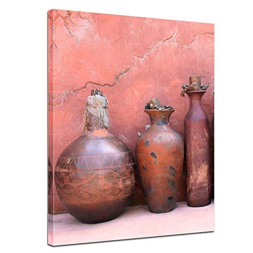 Wandbild - mediterrane Tongefäße - Bild auf Leinwand 50 x 60 cm - Leinwandbilder Bilder als Leinwanddruck Städte & Kulturen Mittelmeer - Amphoren und Krüge