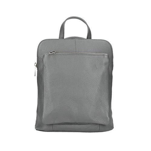 OBC Made in Italy Damen echt Leder Rucksack Daypack Lederrucksack Tasche Schultertasche Ledertasche Handgepäck Nappaleder (Grau 25x30x11 cm)