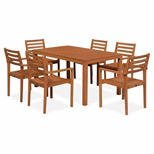 Alice's Garden - Salon de Jardin en Bois - Cadaques - Table 150cm, 6 fauteuils, en Bois d'Eucalyptus FSC huilé