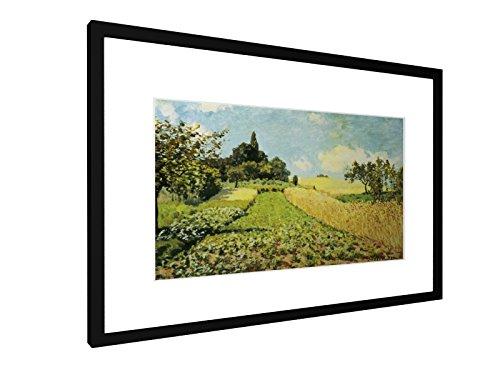 Alfred Sisley - Weizenfeld - 1873 - 60x40 cm - Bild mit Rahmen / Gerahmtes Poster - Kunstdruck - Wandbild - Kunst, Gemälde, Foto, Bild - Alte Meister / Museum (Landwirtschaft Gerahmte Kunst)