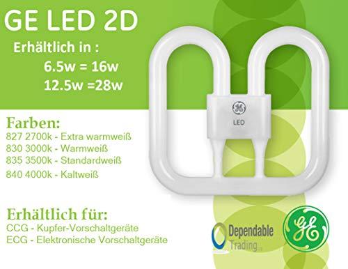 GE LED 2D Kompaktleuchtstofflampe DD Lampe (12,5W = 28W 4PIN 4000k Hochfrequenz-Vorschaltgerät) -