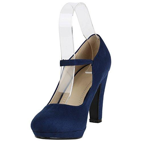 Damen Schuhe Pumps T-Strap High Heels Riemchenpumps Stilettos 157207 Dunkelblau Berkley 40 Flandell - 2