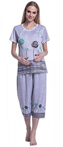 Happy Mama. Femme Pyjama De Nuit. Nuisette Grossesse Allaitement à Imprimé. 174p Vert