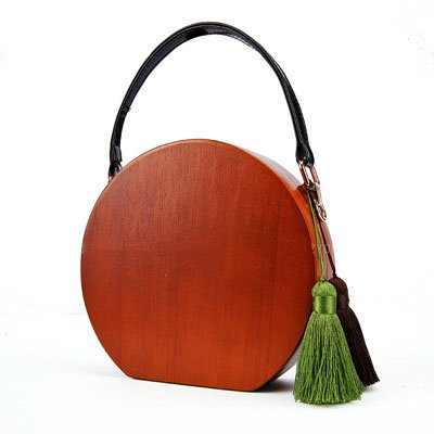 Misonz Runde Form Holz Staubbeutel mit PU-Leder Griffe Handarbeit Holz Staubbeutel mit Quaste Lady Fashion Holz Abend Handtaschen Holz Tragetaschen Show 18cm