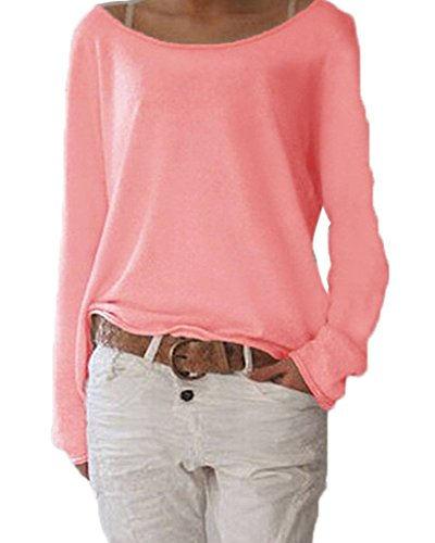 ZIOOER New Design Damen Pulli Langarm T-Shirt Rundhals Ausschnitt Lose Bluse Hemd Pullover Oversize Sweatshirt Oberteil Tops Rot S