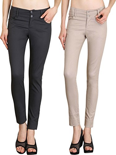 NGT Womens Formal Beige And Grey Trouser in Special Quality.