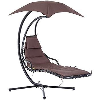 outsunny bain de soleil transat suspendu avec pare soleil. Black Bedroom Furniture Sets. Home Design Ideas