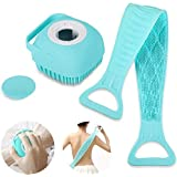 Shopkart 2 Pcs Combo Silicone Soft Bath Body Brush with Shampoo Dispenser Back BrushUltra Exfoliating Scrubber Deep Cleaning
