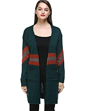Vogueearth Fashion Mujer's Ladies Largo Manga Pocket Knit Largo Jersey Sudaderas Suéter Open Cardigan
