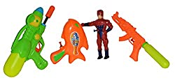 Toyzstation Combo of 3 Fun Water Guns and 1 Pressure Soaker Water Gun for Holi Festival