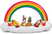 Pool cup holder Inflatable floatie Rainbow Tray Ice Bar , floating Cup holder Air Mattress ice cold Bucket Ser