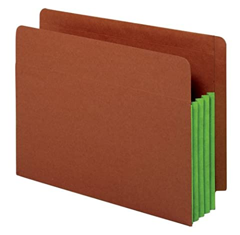 Globe-Weis End Tab File Pockets, 3.5-Inch Expansion, Green Tyvek Gussets, Brown Cover, Letter Size, 10 Pockets Per Box