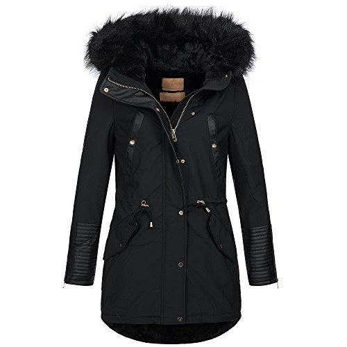 BOL Damen Jacke Mantel Winterjacke Parka warm gefüttert innen mit Teddyfell 15651 S-XXL 3-Farben, Größe:S - 36;Farbe:Schwarz