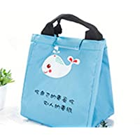 Yudanwin Leinwand-Lunch-Tasche Süßes Tier Takeaway Insulation Bag Bento Lunch Bag (Blau) - preisvergleich